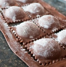 Pumpkin-Filled Chocolate Ravioli